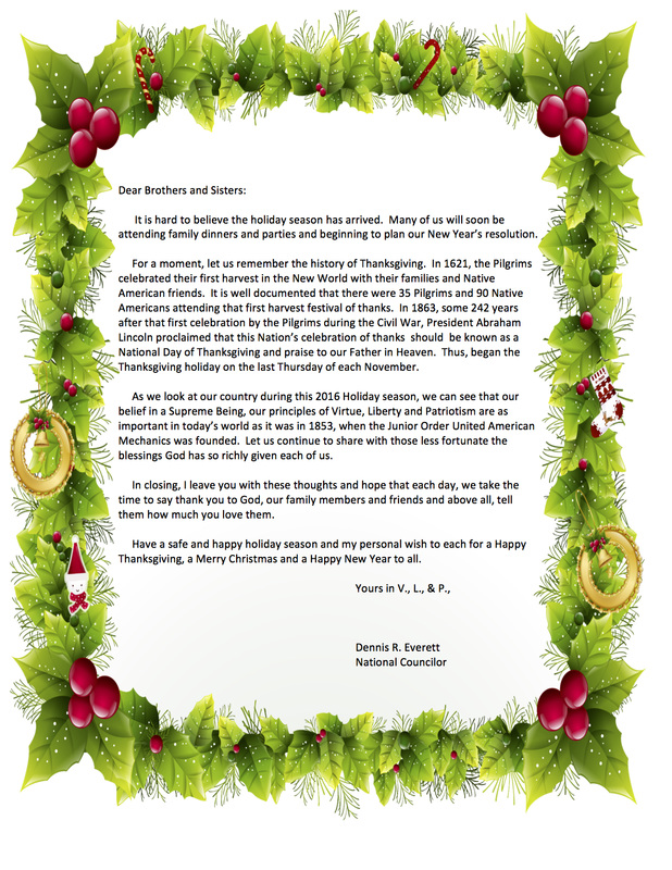 National Councilor'S Holiday Letter - Jrouam